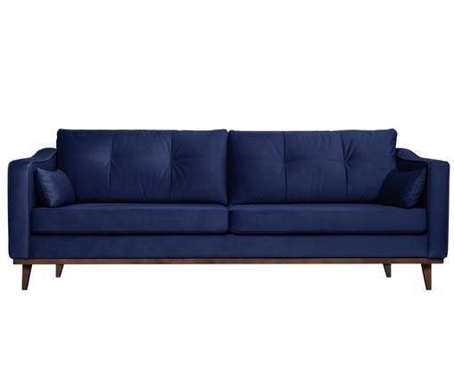 Canapé en velours Alva (3places), Revêtement: bleu marine, pieds: hêtre, teinte sombre