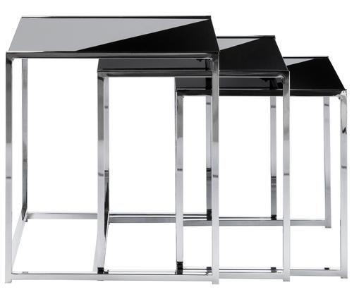 Set tavolini d'appoggio Cleo, 3 pz., Nero,argento