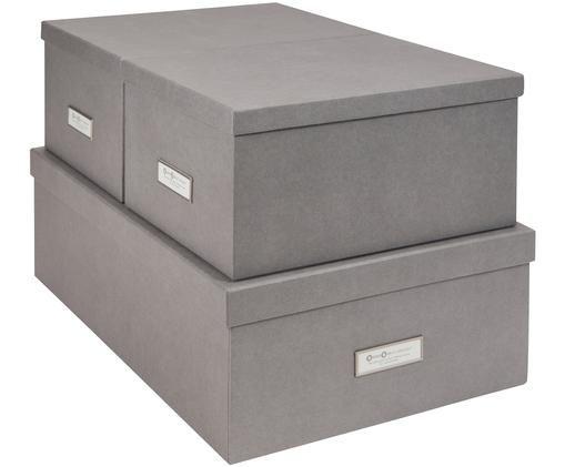 Ensemble de boîtes de rangement Inge, 3élém., Extérieur boîte: gris clair Intérieur boîte: blanc