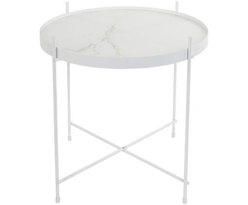 Tablett-Tisch Cupid mit Glasplatte, Weiß