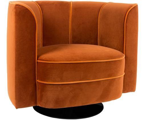 Fotel z aksamitu Flower, Pomarańczowy
