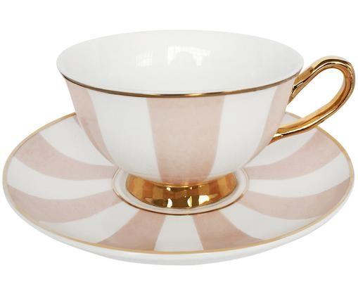 Teetasse mit Untertasse Stripy, Rosa, Weiß Rand und Henkel: Gold