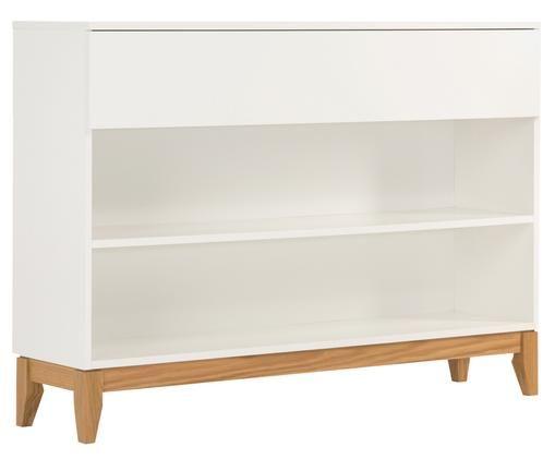 Weißes Sideboard Blanco mit Holzfüßen, Weiß, Braun