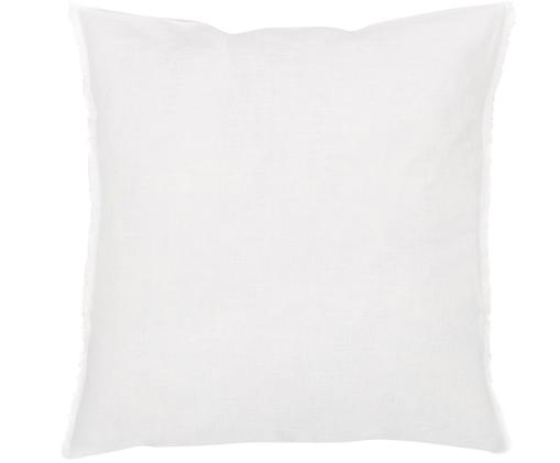 Cuscino in lino Sunshine Fringe, con imbottitura, Bianco