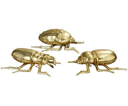 Set de escarabajos decorativos, 3pzas., Dorado