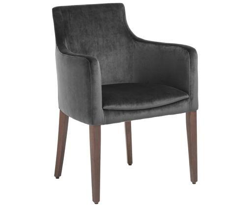 Krzesło z podłokietnikami z aksamitu Manhattan, Tapicerka: antracytowy Nogi: ciemnobrązowy