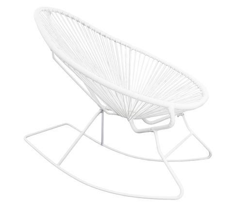 Krzesło bujane Grace, Stelaż: biały Splot: biały