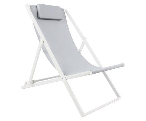 Liegestuhl Cali, Gestell: Weiß, Bezug: Grau