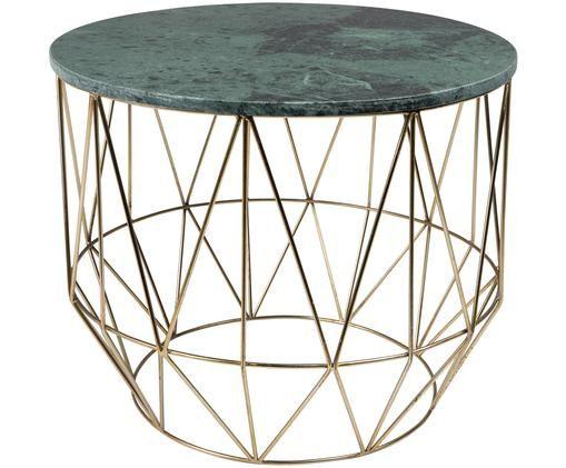 Runder Marmor-Beistelltisch Boss, Tischplatte: Grün, marmoriert Beine: Messing