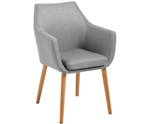 Sedia con braccioli  Nora, Rivestimento: grigio chiaro Struttura: legno di quercia