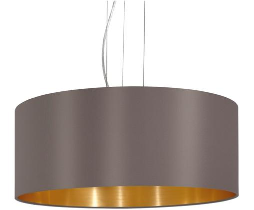 Suspension Elegant, Extérieur abat-jour: cappuccino Intérieur abat-jour: couleur dorée