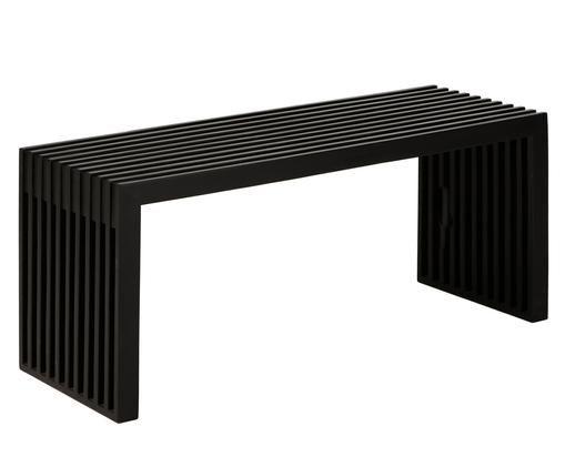 Teakholz-Bank Rib in modernem Design, Schwarz