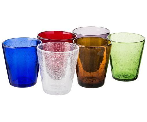 Set bicchieri in vetro soffiato Cancun, 6 pz., Multicolore