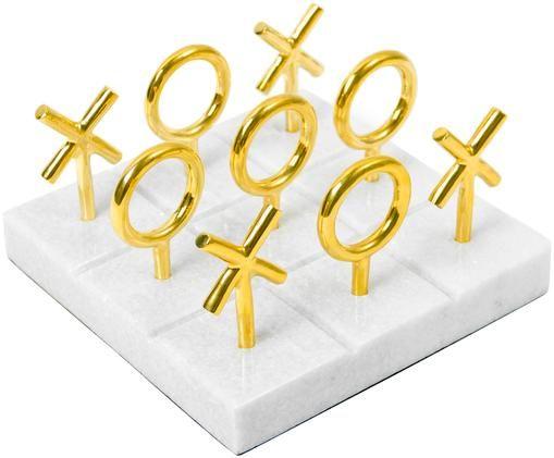 Designer-Brettspiel Tic Tac Toe aus Marmor, Spielsteine: Messing Sockel: Weiß