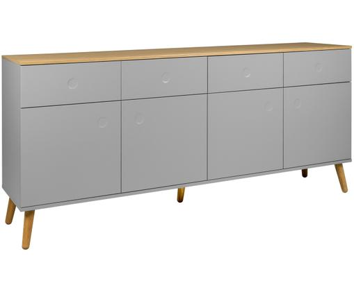 Sideboard Dot im Skandi Design, Korpus und Fronten: Grau Schrankoberfläche und Füße: Eichenholz