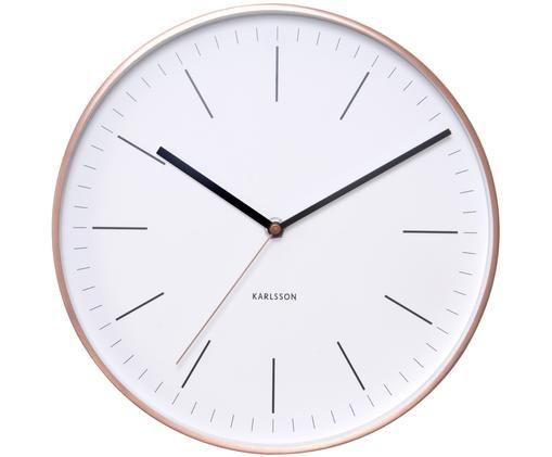 Zegar ścienny Minimal, Tarcza: biały Wskaźniki i wskazówki: czarny Rama: odcienie miedzi