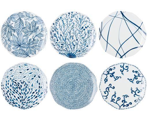 Komplet talerzy dużych Vassoio, 6 elem., Niebieski, biały
