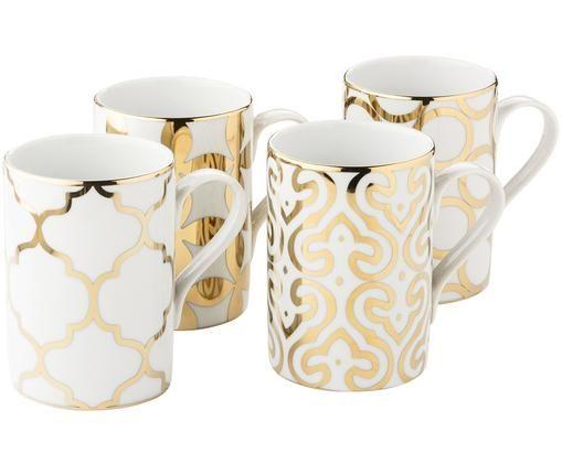 Komplet kubków Pattern, 4 elem, Biały, złoty