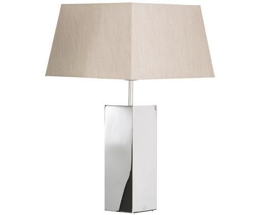 Tafellamp Prag, Edelstaalkleurig, beige