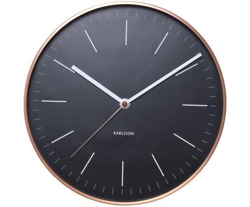 Horloge murale Minimal, Cadran: noir Chiffres, aiguilles: blanc Cadre: couleur cuivrée