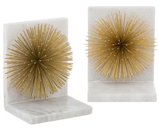 Buchstützen Marburch, 2 Stück, Buchstützen: Weißer Marmor, Detail: Goldfarben, Unterseite: Filz