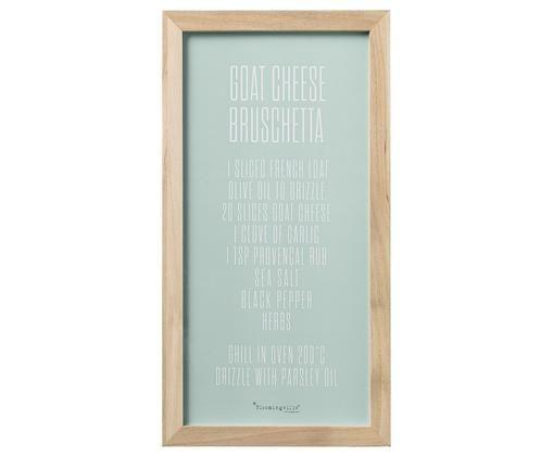 Stampa digitale incorniciata Bruschetta, Immagine: turchese, bianco   cornice: legno