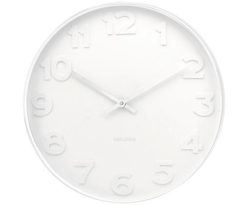 Zegar ścienny Mr. White, Rama i cyfry: biały Wskazówki: srebrny
