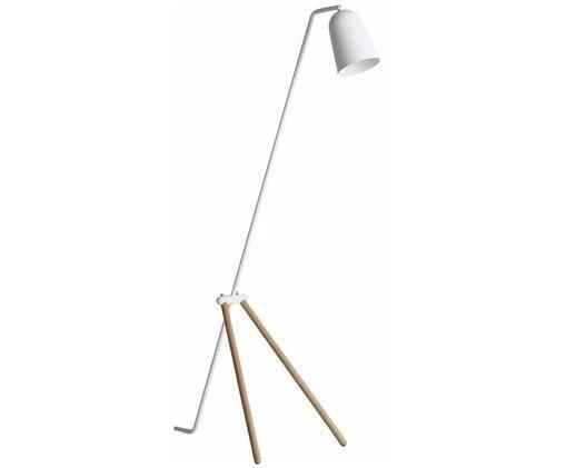 Lampa podłogowa Giraffe, Podstawa lampy: drewno dębowe Klosz i drążek: biały, matowy