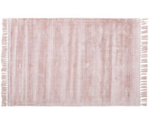 Tappeto in viscosa intrecciata a mano Aria con frange in rosa, Rosa cipria