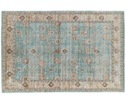 Ręcznie tkany dywan szenilowy Rimini, Turkusowy, taupe, brązowy