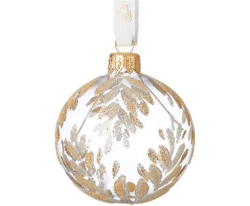 Palla di Natale Cadelia, 2 pz., Trasparente, dorato