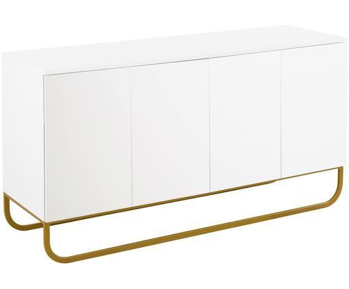 Klassisches Sideboard Sanford in Weiß, Korpus: Weiß, mattFußgestell: Goldfarben, matt
