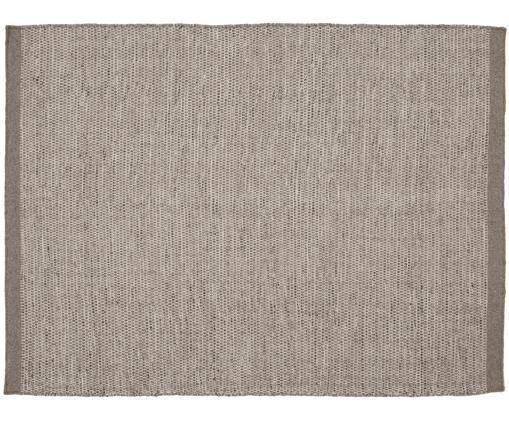 Handgewebter Wollteppich Asko in Grautönen, Hellgrau, Grau