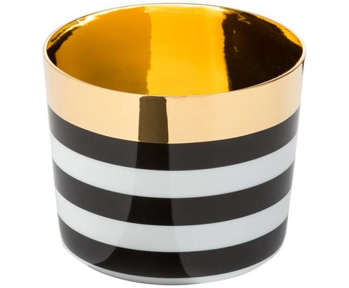 Verre à champagne en porcelaine Sip of Gold, Noir, blanc, or