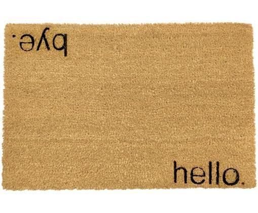 Deurmat Hello Bye, Deurmat: beige. Opschrift: zwart