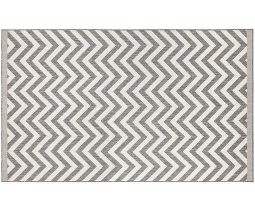 In- und Outdoor-Wendeteppich Palma in Grau-Weiß mit Zickzack-Muster, Grau, Creme