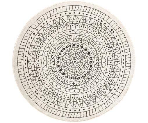 Rond omkeerbaar tapijt voor binnen en buiten met patroon, Zwart, crèmekleurig