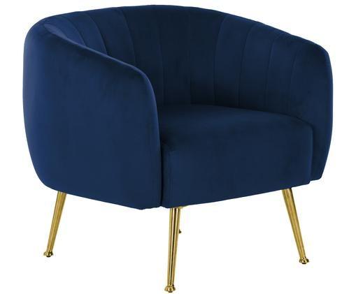 Fotel z aksamitu Coco, Ciemnyniebieski
