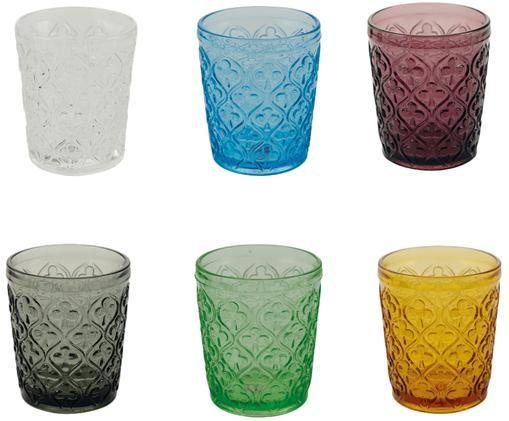 Set bicchieri per l'acqua  Marrakech, 6 pz., Blu, lilla, grigio, verde, giallo, trasparente