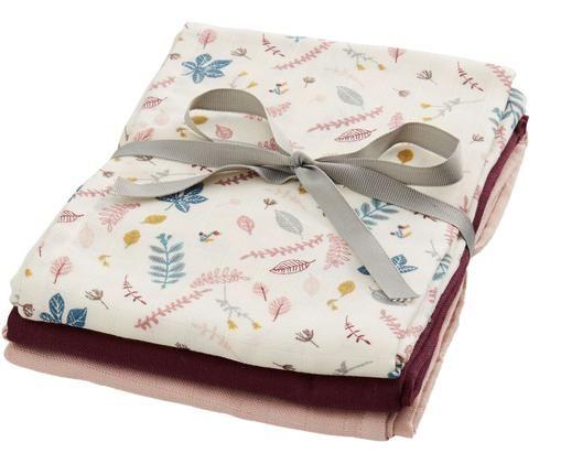 Set pañales de tela Pressed Leaves, 3pzas., Crema, rosa, azul, gris, rojo oscuro