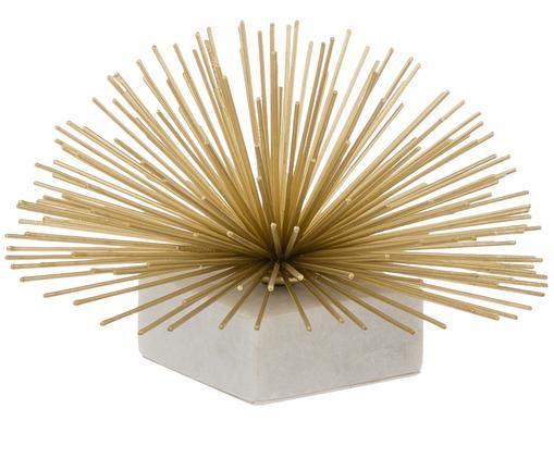 Accessoire décoratif Marburch, Ornement: couleur dorée Pied: marbre blanc