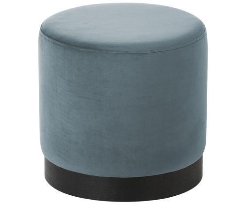 Puf z aksamitu Azalea, Tapicerka: szaroniebieski Noga: drewno jesionowe, czarny lakierowany