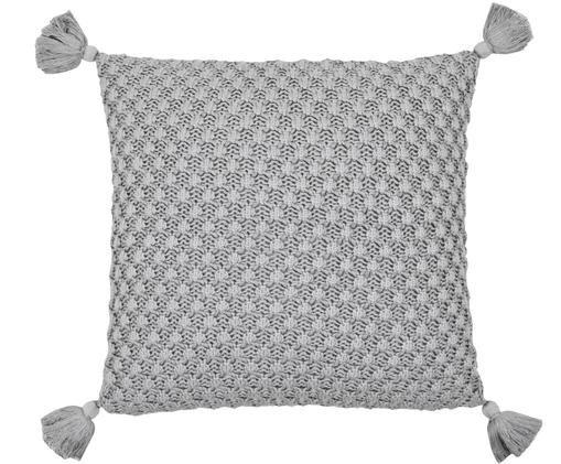 Strick-Kissenhülle Astrid mit Quasten in Grau, Grau