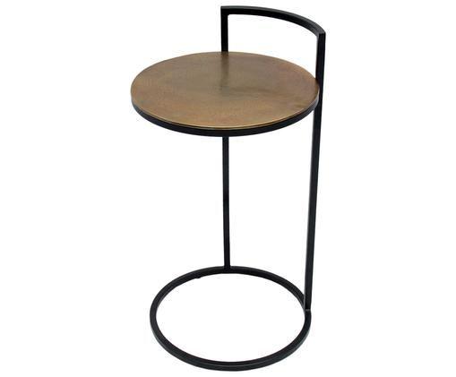 Table d'appoint Circle, Couleur laiton, finition antiquaire, noir, mat