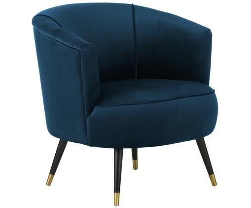 Fotel z aksamitu Ella, Ciemnyniebieski