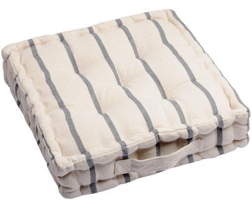 Cuscino da pavimento di piccole dimensioni Pampelonne, Antracite, bianco latteo