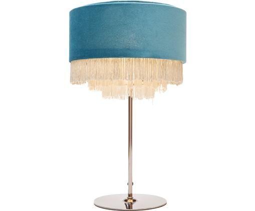 Lampe à poser en velours Tassel, Bleu pétrole