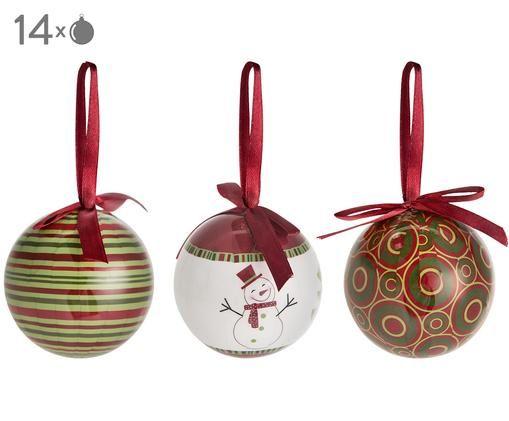 Bolas de Navidad Holly, 14uds., Rojo, verde, blanco