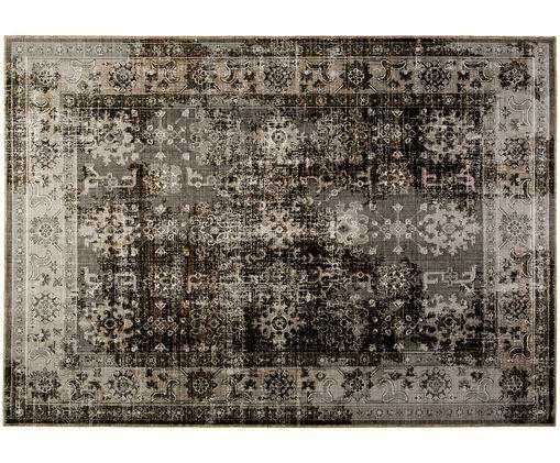Alfombra de interior/exterior Tilas Antalya, Tonos grises, negro