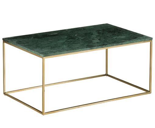 Tavolino da salotto in marmo Alys, Piano d'appoggio: marmo verde Struttura: dorato lucido